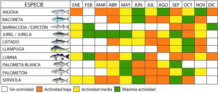 Calendario De Pesca.Calendario De Pesca Por Especies Pesca A Spinning Tecnicas De